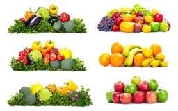 Fresh fruits. Fresh fruits: banana orange apple grape peach lemon lime. Isolated over white background royalty free stock image