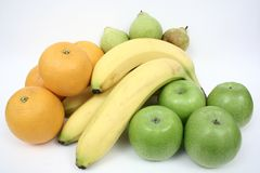 Fresh Fruits. Fresh Oranges, apples, banana and pears Royalty Free Stock Photo