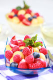 Fresh fruits. Delicious fresh fruits served in bowl as dessert stock photos