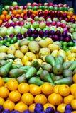 Fresh fruits. Big assortment of fresh organically grown fruits royalty free stock photo