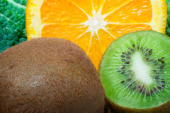 Fresh fruits. Close up photo, kiwi and orange stock photography