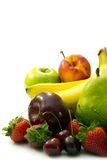 Fresh fruits. Fresh mixed fruits on white background with empty space for text royalty free stock photos