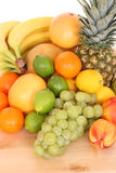 Fresh fruits. Lots of various fresh fruits isolated on white royalty free stock image