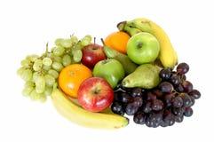 Fresh fruits. Fresh healthy colorful bio fruit full of vitamins, white background Stock Photos
