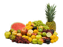 Fresh Fruits. Healthy Eating series: Fruits assortment isolated on pure white Royalty Free Stock Image