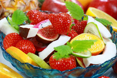 Fresh fruits. Delicious fresh fruits in bowl as dessert stock image