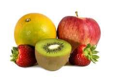 Fresh Fruits. Fruits of different kinds on white background Royalty Free Stock Photography