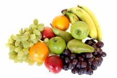 Fresh fruits. Fresh healthy colorful bio fruit full of vitamins, white background Royalty Free Stock Image