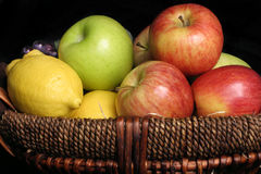 Fresh Fruits. A closeup view of some fresh fruits in a basket Stock Photos