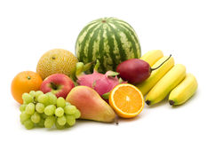 Fresh fruits. On white background stock photography