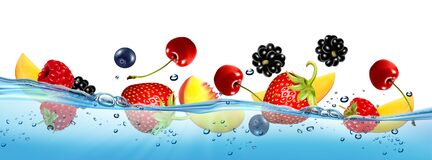 Free Fresh Fruits And Berries Splashing In Water Waves With Air Bubbles And Sunbeams. Stock Images - 190394214