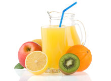 Fresh Fruits And Juice In Glass On White Royalty Free Stock Photo
