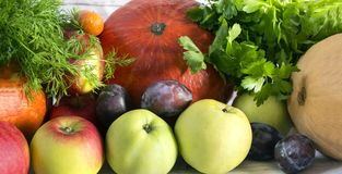 Free Fresh Fruits And Vegetables, Pumpkins, Apples, Greens, Plums, Au Stock Photography - 127448852