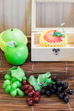 Fresh fruits: apples  and grapes. -(Close up) Stock Images
