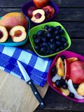Fresh fruits with apples, nectarines and grapes Stock Photo