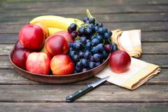 Fresh fruits with apples, nectarines and grapes Stock Photos