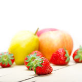 Fresh fruits apples pears and strawberrys Stock Images