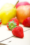 Fresh fruits apples pears and strawberrys Royalty Free Stock Photography