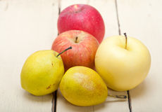 Fresh fruits apples and  pears Royalty Free Stock Photos