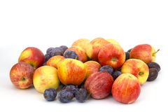 Fresh fruits - apples and plums Stock Images