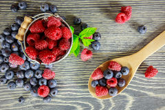Fresh fruits. Arranged on a wooden table Royalty Free Stock Photography