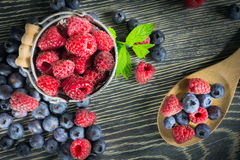 Fresh fruits. Arranged on a wooden table Royalty Free Stock Image