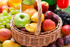 Fresh fruits in basket Royalty Free Stock Photography