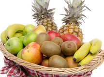 Fresh fruits in a basket Stock Photos