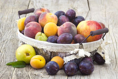 Fresh fruits in a basket Stock Images