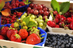 Fresh fruits in baskets Royalty Free Stock Photography