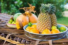 Fresh Fruits. On the beach at a deck royalty free stock photography