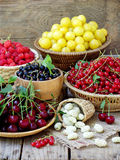 Fresh fruits and berries in the basket on wooden background Stock Images