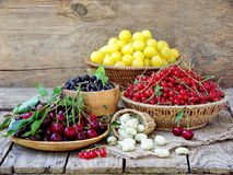 Fresh fruits and berries in the basket on wooden background Royalty Free Stock Photography