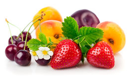 Fresh fruits and berries in still life with green leaves Stock Images