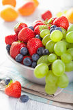 Fresh fruits and berries. strawberry blueberry grape apricot Royalty Free Stock Photos