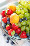 Fresh fruits and berries. strawberry blueberry grape apricot Stock Photography