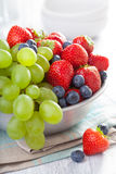 Fresh fruits and berries. strawberry blueberry grape apricot Royalty Free Stock Image