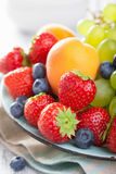 Fresh fruits and berries. strawberry blueberry grape apricot Royalty Free Stock Images