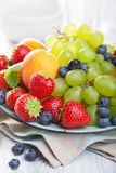Fresh fruits and berries. strawberry blueberry grape apricot Stock Photo