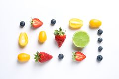 Fresh fruits and berries on white background,. Top view Royalty Free Stock Images