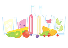 Fresh fruits, berries, wine and smoothie Stock Photography