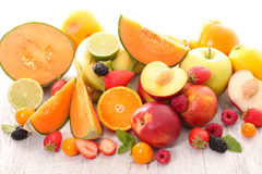 Fresh fruits. With berry and melons royalty free stock image
