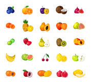 Fresh Fruits  Big Polygonal Icons Set. Fresh tropical fruits berries and coconut polygonal icons collection with blueberry figs kiwi mango isolated vector Royalty Free Stock Photography