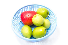 Fresh Fruits. In blue basket Stock Photography