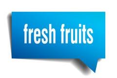 Fresh fruits blue 3d speech bubble. Fresh fruits blue 3d square isolated speech bubble Stock Images