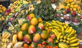 Fresh fruits at the Boqueria market Royalty Free Stock Photos