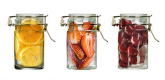 fresh fruits in bottles Stock Images