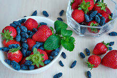 Fresh fruits in bowls Royalty Free Stock Photos
