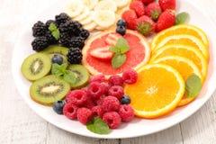 Fresh fruits for breakfast stock photo