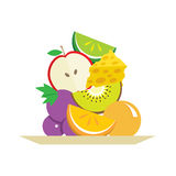Fresh Fruits And Cheese In Plate Royalty Free Stock Images